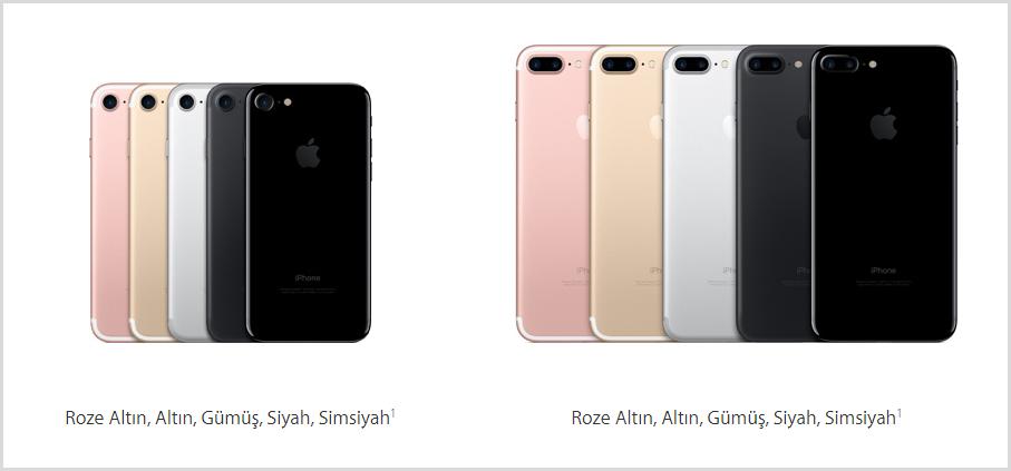 iPhone 7 ve iPhone 7 Plus Renk Seçenekleri