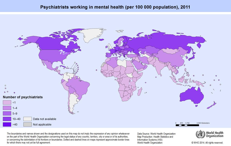 En fazla psikiyatrist barındıran ülkeler