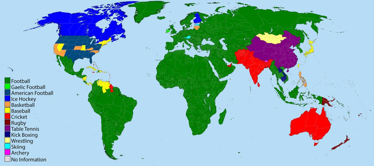Spor dalları dünya haritası