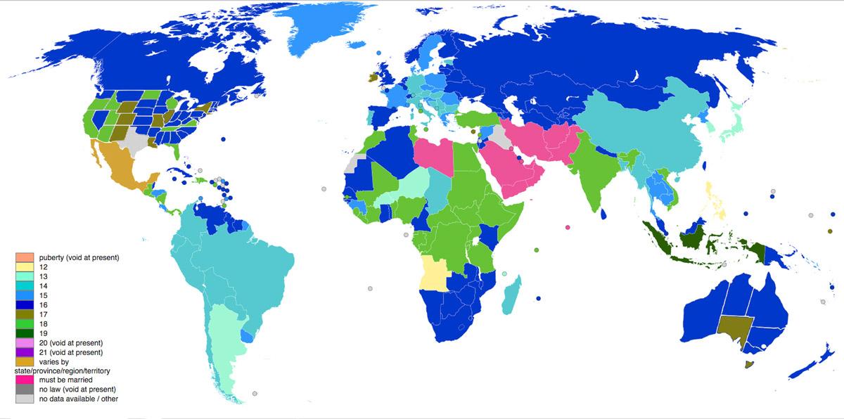Reşit olma yaşları dünya haritası