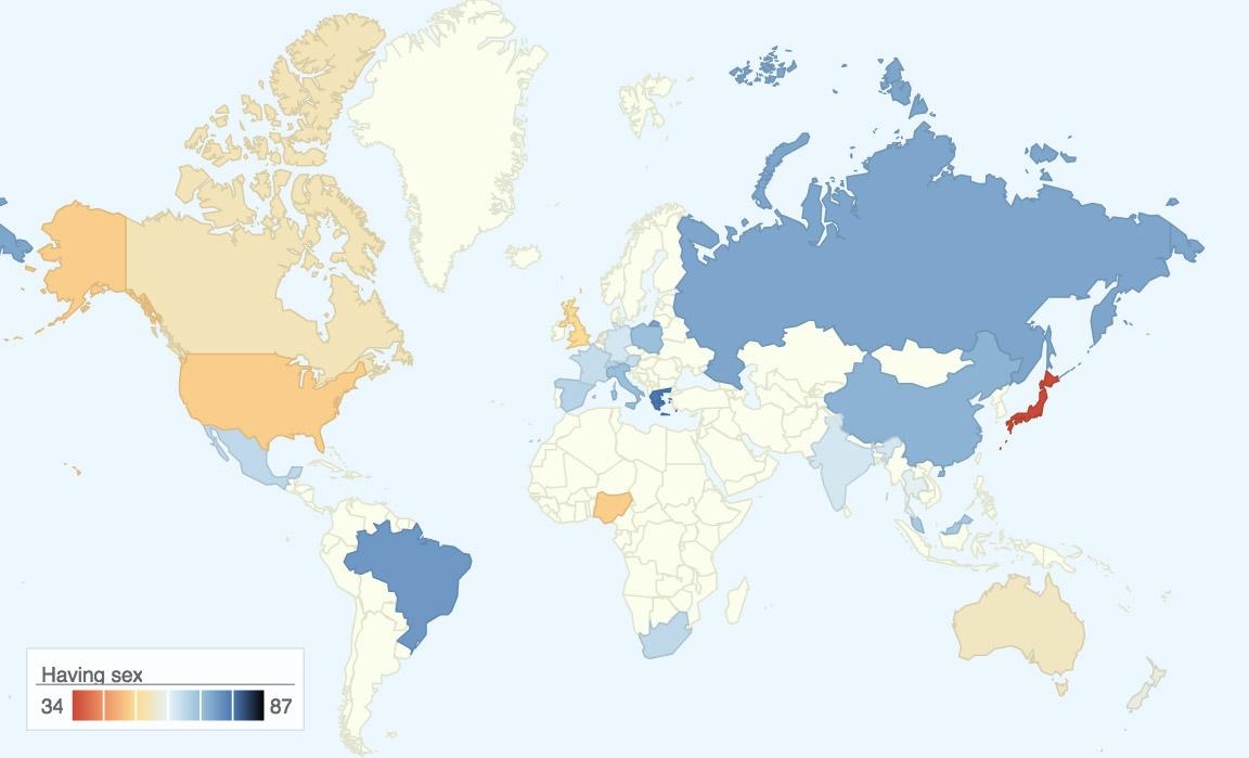 Haftada en az bir kere cinsel ilişkiye girdiğini söyleyen insanların yüzdesini gösteren harita