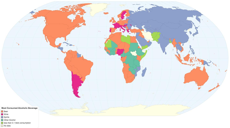 Alkollü içecek türleri dünya haritası