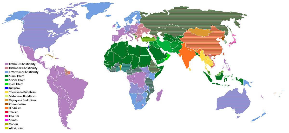 Ülkeler ve dinler haritası