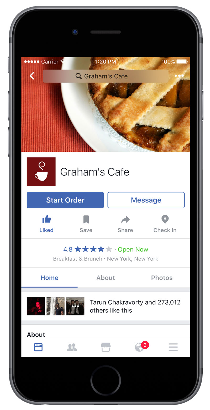 Facebook Yemek Siparişi