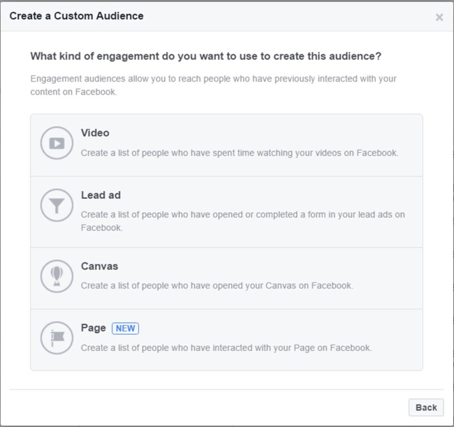 Facebook özel hedef kitle oluşturma ekranı