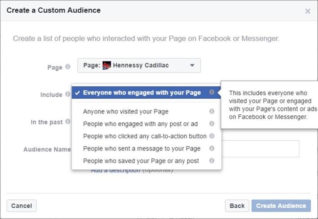 Facebook sayfa ile etkileşime geçen kişileri hedefleme